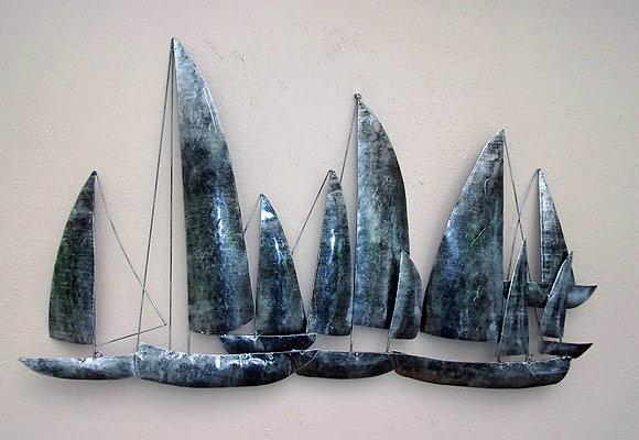 Unusual Gun Metal Sailing Ships Wall Art