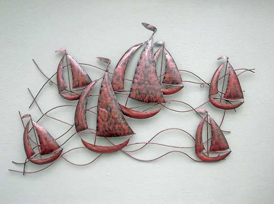 Large Metal Sailing Ships 3D Wall Art - Copper