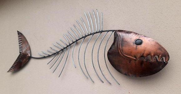 Abstract Burnt Copper Fish Bone Wall Art  80cm
