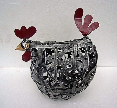 Stripped Metal Chicken Egg Storage Basket