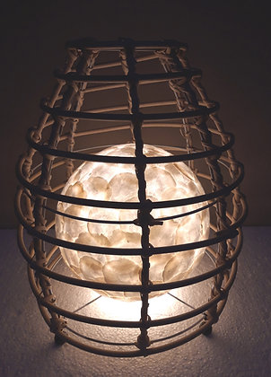 White Shell & Natural Rattan Lobster Pot Lamp