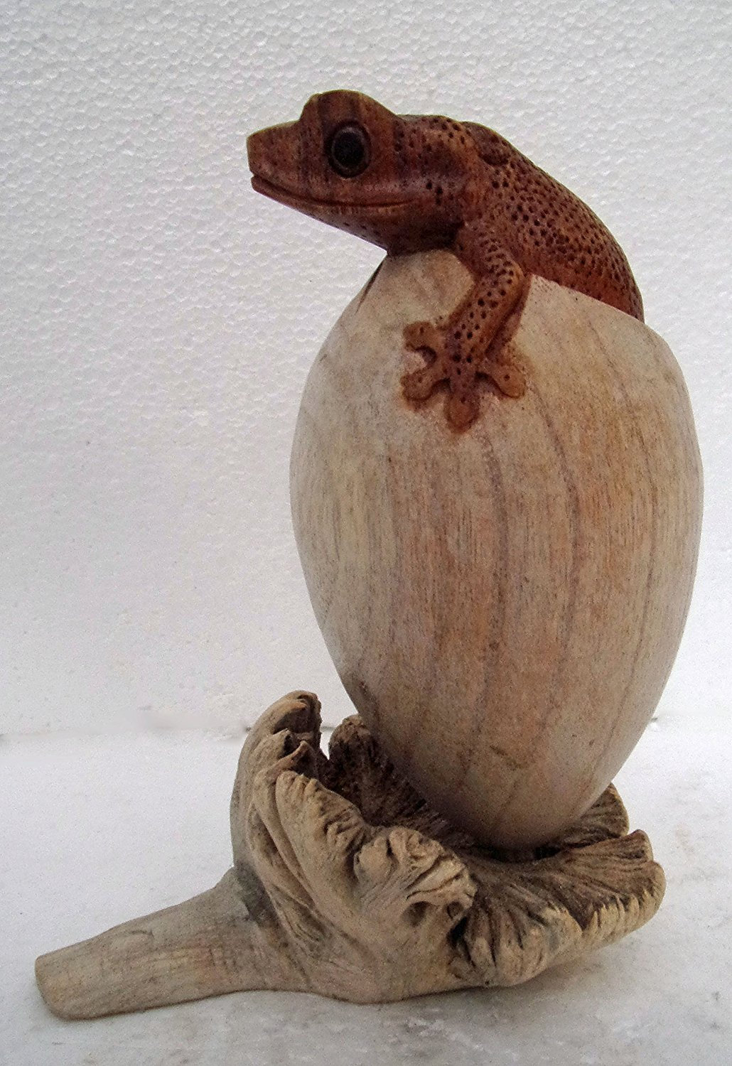 Hand Carved Gecko Egg Wooden Lizard hatching from Egg