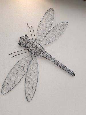 Hand Made Silver Twisted Wire Dragonfly Wall Art