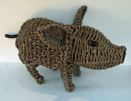 Unusual Curly Tail Banana Leaf Pig -Large