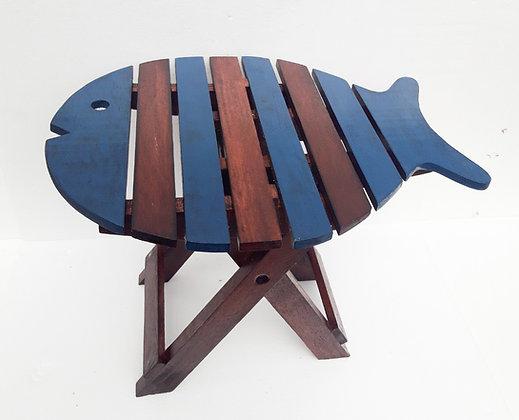 Unusual Folding Rustic Fish Table Blue & Dark Wood Shabby chic Folding Table