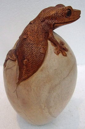 Giant Hand Carved Gecko in Egg