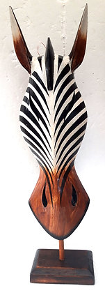 Hand Carved Zebra Mask on Stand No6