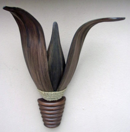 Dark Banana Palm Leaf & Mahogany Wall Lamp