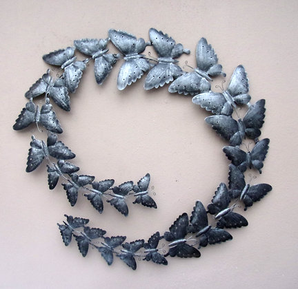 Silver Butterfly Circle Metal Wall Art
