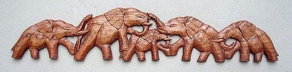 Hand Carved Elephant Family Wall Plaque 100cm
