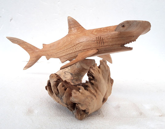 Hand Carved Hammer Head Shark 30cm