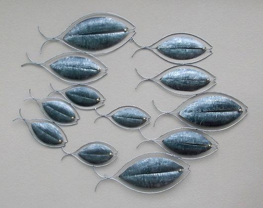 Silver Contemporary Fish Shoal Metal Wall Art