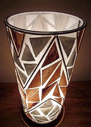 White Shell & Banana Leaf Cylinder Lamp 50cm