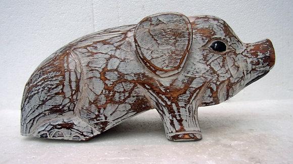 Shabby Chic Wooden Pig 30cm