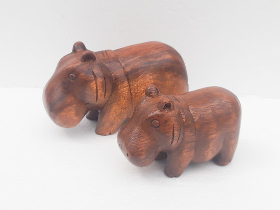 Hand Carved Hippo Pair