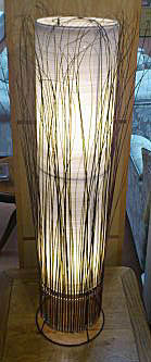 Natural and Silver Thread Tall Cylinder Lamp