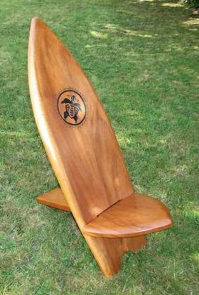 SurfBoard Chair with Hand Carved Turtle motif