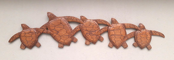 Hand Carved Turtle Family Wall Plaque 100cm