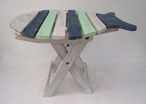 Hand Made Folding Fish Table Blue White  Green