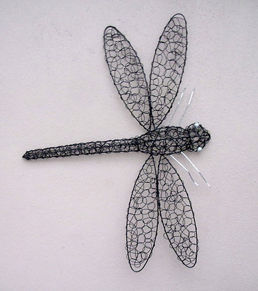Hand Made Black Twisted Wire Dragonfly Wall Art