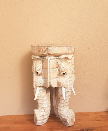 Hand Carved Elephant Table Shabby Chic Shabby Wash stool