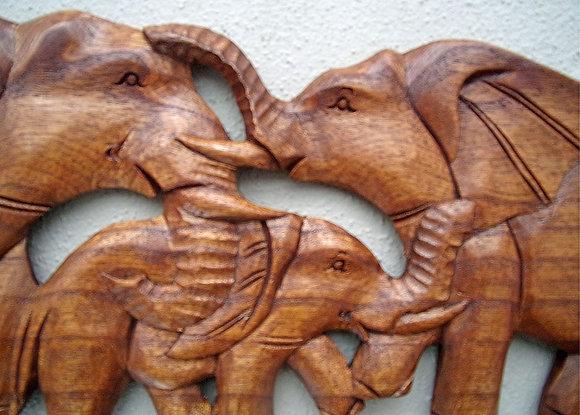 Elephant Family Wall Plaque 50cm