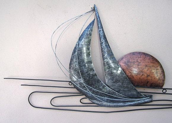 Regatta Sunset Metal Sailing Ships 3D Abstract Silver Art 1Mtr