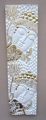 Hand Carved White & Gold Buddha Wall Plaque 115cm