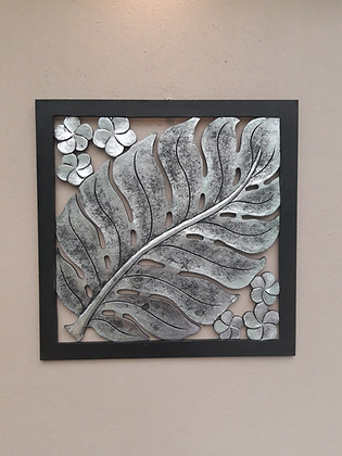 Black & Burnt Silver Leaf Wall Art  Giant Fern Art 60cm