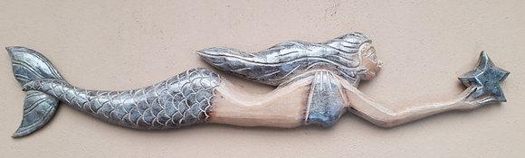 Shabby Chic Silver Mermaid Wall Art 100cm