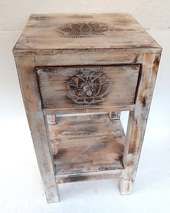 Shabby Chic Style Lotus Flower Tall Lamp Table with Drawer