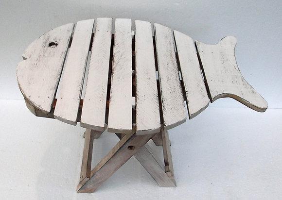 Shabby Chic White wash Folding Fish Table