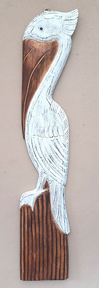 Hand Carved Wooden Pelican Wall Art 100cm