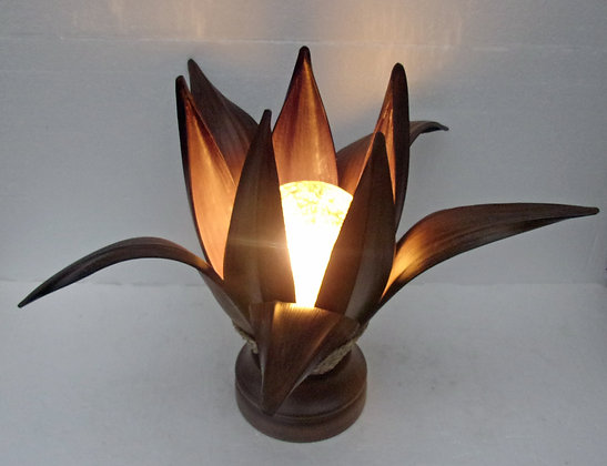 Dark Banana Palm Leaf Table Lamp Large
