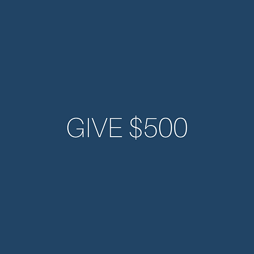 Donations can be added to cart in $500 increments