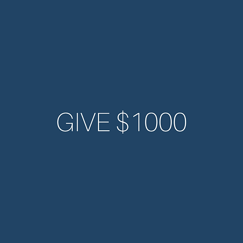 Donations can be added to cart in $1000 increments