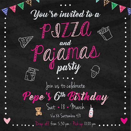 Invito Pizza &Pigiama Party