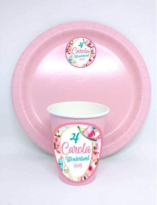 8 Piatti e 8 bicchieri personalizzati (base rosa)