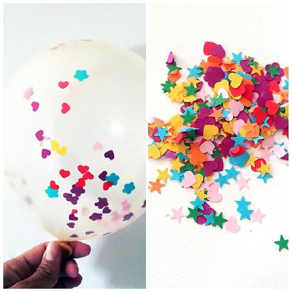5 palloncini coriandoli colorati