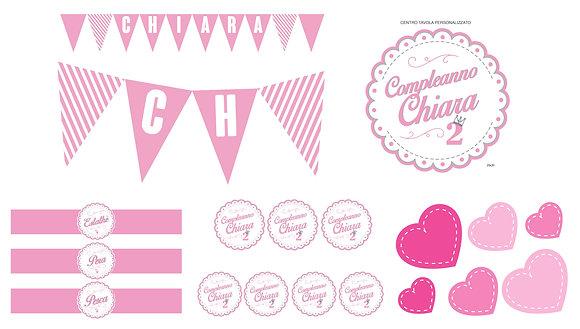 Party Kit digitale Rosa baby/cuori