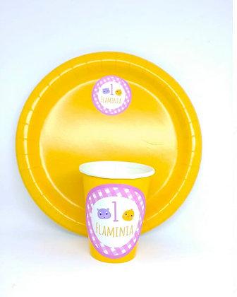 8 Piatti e 8 bicchieri personalizzati (base giallo)