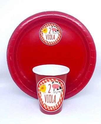 8 Piatti e 8 bicchieri personalizzati (base rosso)