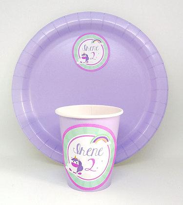 n.8 Piatti e n.8 bicchieri personalizzati base lilla
