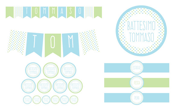 Party Kit digitale Pois azz/verde