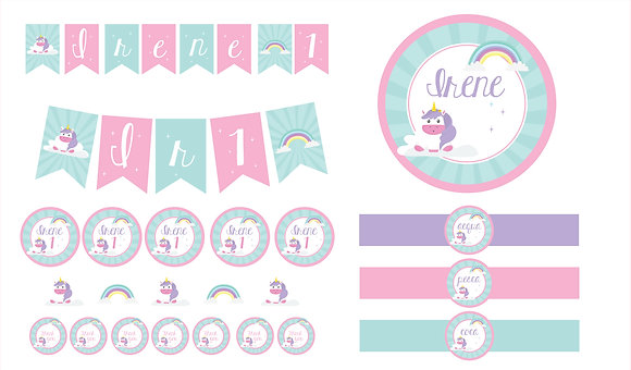 Party Kit digitale Unicorno arcobaleno
