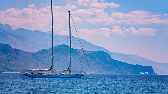 Yacht anchored off Paleochora