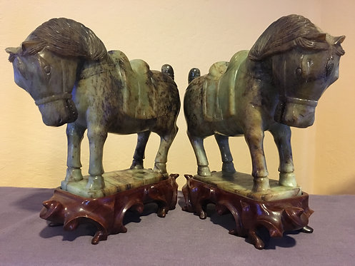Pair Jade Saddled Horse Statues