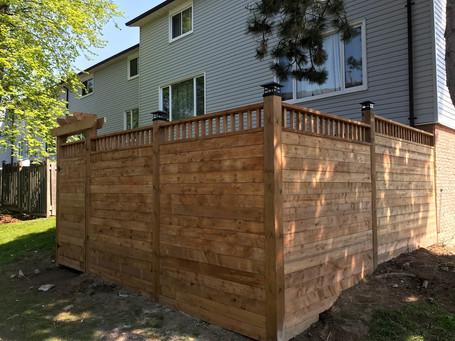 Horizontal Fence with Custom Lattice