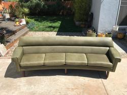 Curved Danish Leather Sofa