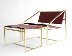 LZ1 Brass Lounge Chair & Ottoman in Oxbl